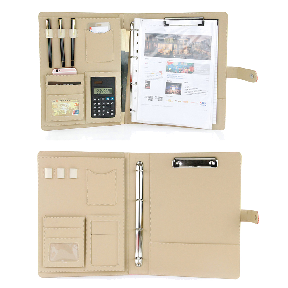 купить A4 classic leather manager folder document file folder with clip solid button calculator magnetic snap по цене 2008.39 рублей
