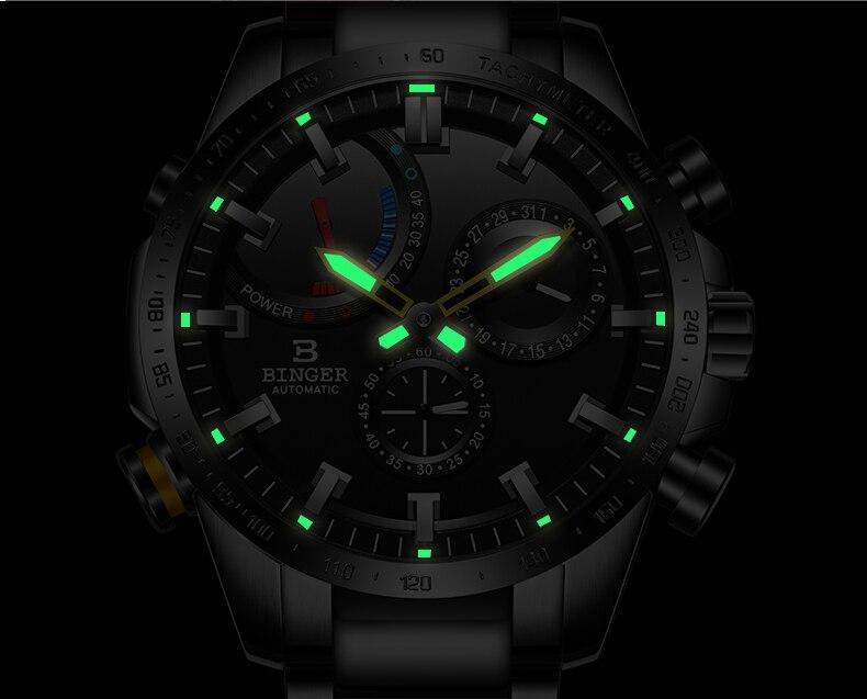 Aliexpress.com  Comprar Reloj Automático Suiza hombre BINGER mecánico hombres  relojes marca de moda reloj Masculino impermeable 2018 Pantalla de energía  de ... 236233053eda