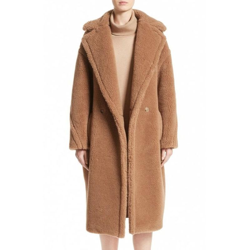 TXJRH Stylish Notched Lapel Collar Hairy Shaggy Faux Fur Long Coat Woman Shearling Fluffy Jackets Long Keep Warm Outerwear Camel цена
