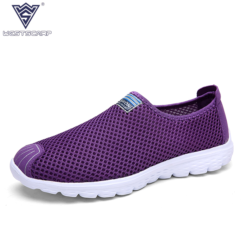 WEST SCARP Women Shoes Summer Lady Casual Shoes Woman,Slip On Breathable Air Mesh Flats Leisure Feminino Sapato Size 36-40 ceyue fashion brand women shoes breathable air mesh trainers 2017 spring autumn casual shoes woman walking flats tenis feminino