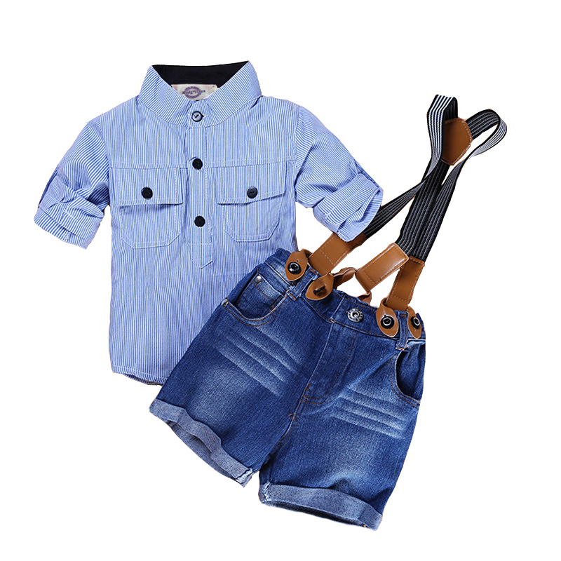 Casual Summer Gentleman Style Kids Boys Clothing Sets Cotton Sling Strap Costume Shirt Short Jeans Boys Clothes Suits