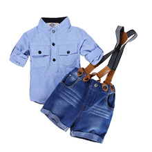 Elvesnest Kids Boys Clothes Gentleman Style Boy Clothing Suits Short Sleeve Shirt+Sling Strap Short Jeans Children Costume casual summer gentleman style kids boys clothing sets cotton sling strap costume shirt short jeans boys clothes suits