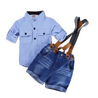 Casual Summer Gentleman Style Kids Boys Clothing Sets Cotton Sling Strap Costume Shirt Short Jeans Boys