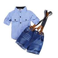 Rahat Yaz Beyefendi Tarzı Çocuk Boys Giyim Setleri Pamuk Sling Askı Kostüm Gömlek Kısa Jeans Boys Giyim Suits