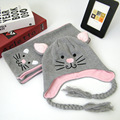 Осенью и зимой дети шляпа шарф из двух частей симпатичные cat животных мультфильм новый детские шерсть шляпа