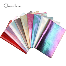 Cheer bow Rainbow Faux Synthetic Leather Burst Crack DIY Decorative Garment HairBow HandBag Shoes Fabric Sheet