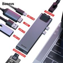 Baseus USB Type C HUB To HDMI RJ45 Ethernet Multi 3.0 Thunderbolt 3 Power Adapter For MacBook Pro Air USB-C Dock Splitter