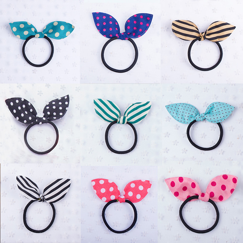 10PCS/lot New Fashion Girls Headwear Bow Dot Elastic Hair Bands Rabbit  Ears Hair Accessories Baby Hairbands Children Hair Ropes 5 6pcs lot headwear set children accessories ribbon bow hair clip hairpin rabbit ears for girls princess star headdress t2