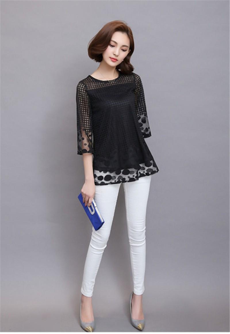 Plus Size 4XL 5XL 6XL  Luxury Lace O Neck  Women Blouse Shirt Noble Long Mesh sleeve Shirt Blouse Vintage tops Blusas Femininas (44)