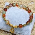 Gold-plated lucky pendant multicolor chalcedony jade bracelets women charms 8mm round beads diy jewelry 7.5inch B2086