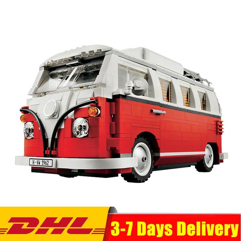 DHL In-Stock 2018 New Volkswagen T1 Camper Van Model Building Kits Bricks Toys Compatible with Legoinglys 10220 цена 2017