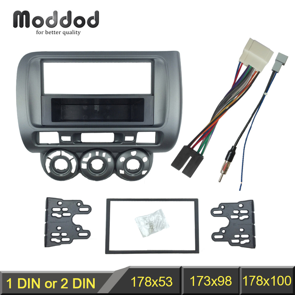 Double Din in Dash Car Stereo Installation Kit Car Radio Stereo CD Player Dash Install Kit Compatible Toyota Universal Side Brackets AUX USB with 17398mm