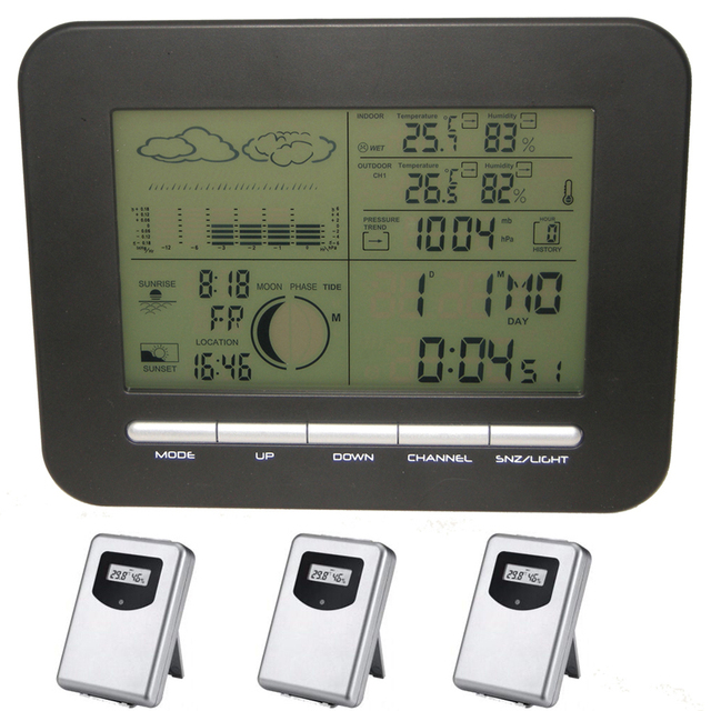 US $45 0 |Digital Home Weather Forecast Station Dual Alarm Clock With  Barometer,3 Outdoor Temperature&Humidity Monitor Transmitter Sensors-in  Alarm