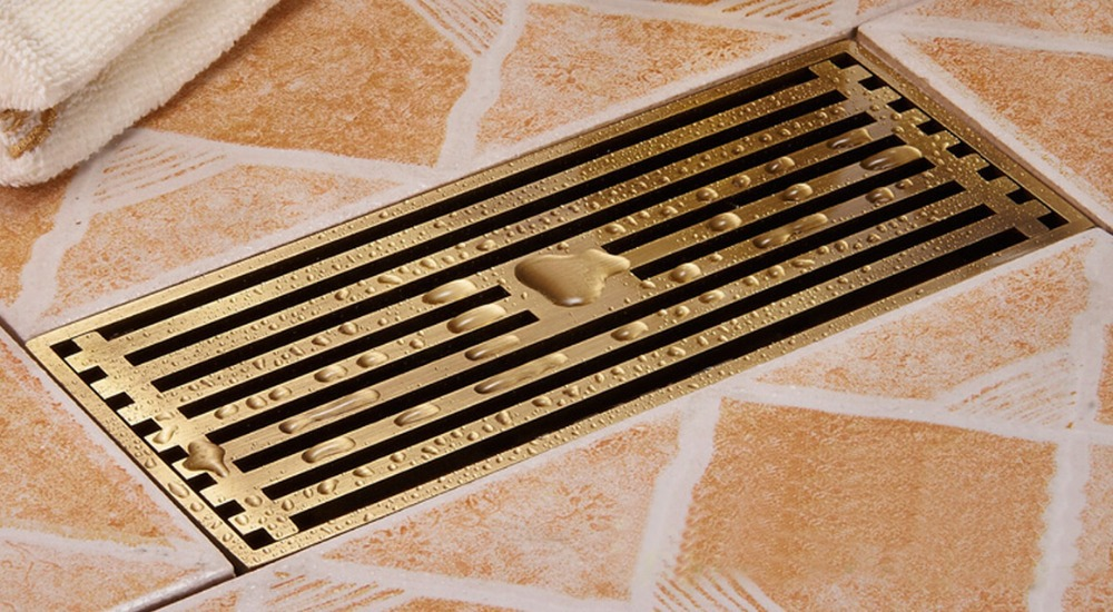 Free shipping 20cm x 8cm  Antique  Art Carved Brass Linear Floor Drain Cover Shower Waste Drainer 11-203 free shipping antique brass 12cm decorative floor waste drainer square flower carved shower drain waste grate cover