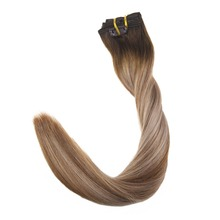 Full Shine 7Pcs Clip in Human Hair Extensions Balayage Color #4 Fading To 6 and 18 Ash Blonde Head 100% Remy