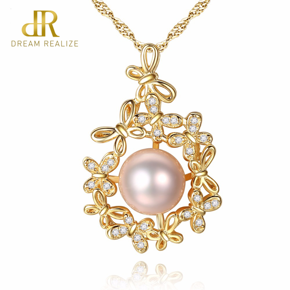 DR Brand Flower Surround White/Pink/Purple pearl 45CM Pendants & Necklaces Women 925 Sterling Silver Necklace Wedding JewelryDR Brand Flower Surround White/Pink/Purple pearl 45CM Pendants & Necklaces Women 925 Sterling Silver Necklace Wedding Jewelry