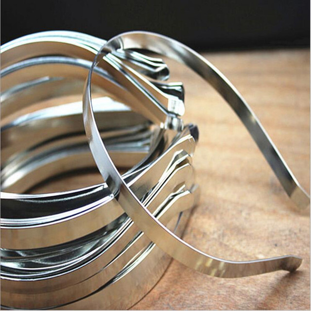 10pcs/lot Rhodium/Gold Color Width 5mm Head Bands Stainless Steel Hair Bands Hai