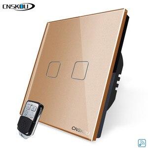 Image 4 - Cnskou padrão da ue interruptor de luz vidro cristal luxo, casa inteligente 2 gang 1way remoto sem fio toque interruptor parede