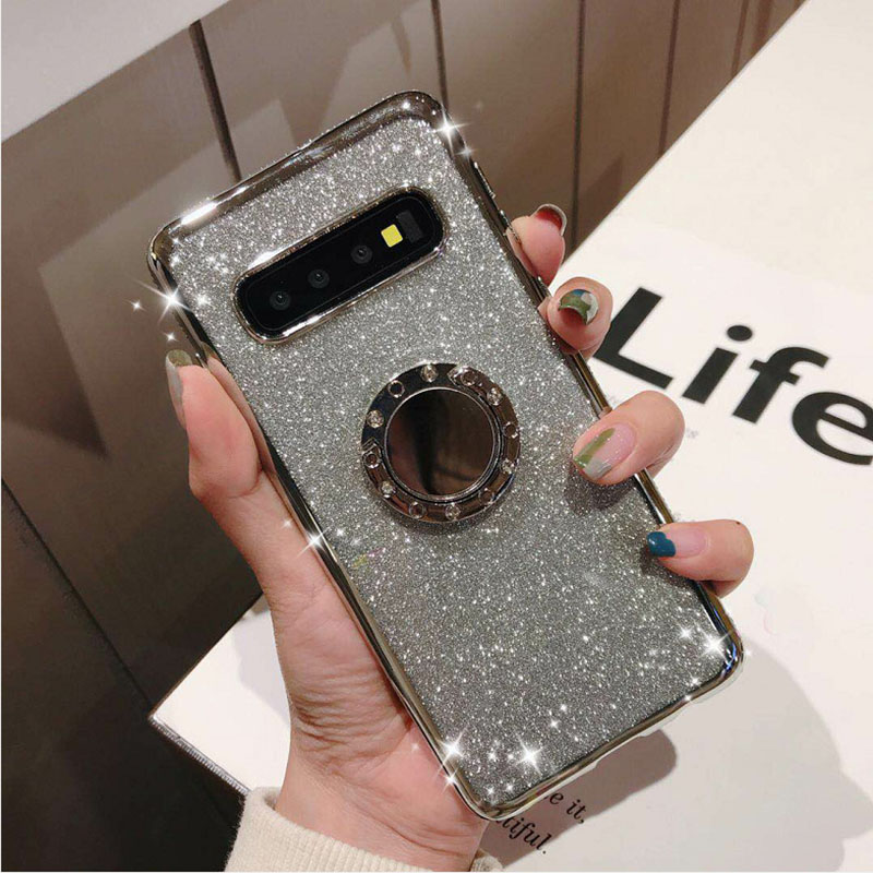 Rhinestone Diamond Bling Soft TPU Case Cover sFor Samsung S10e S10+ Note 9 A6 A8 A7 2018 A750 Slim Phone Capa With Rotating Ring (10)