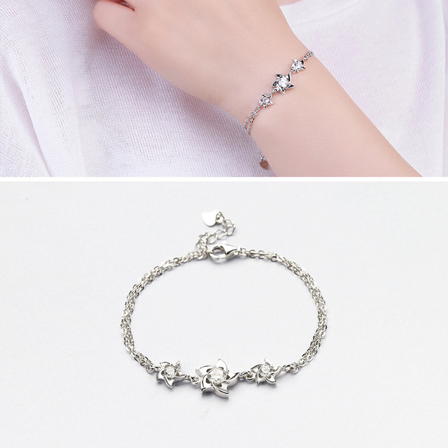 Factory Direct Sales S925 Sterling Silver Gardenia Flowers - The Same Bracelet Fashion Silver Bracelet Factory