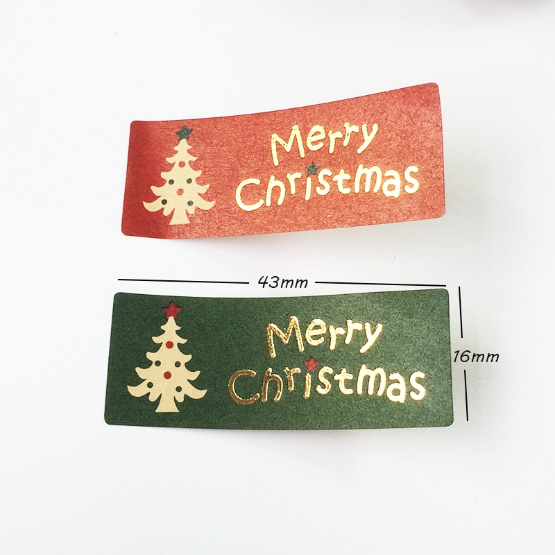 Купить с кэшбэком 100pcs/lot 'Merry Christmas' Christmas Tree Red&Green Gift Package Decoration Label Stickers Scrapbooking For Christmas Party
