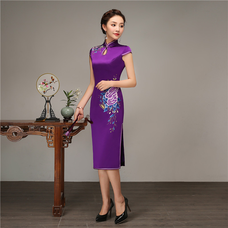 Split Main Robes Qipao xxxl De Formelle Sexy Mandarin Col Pourpre Élégante Cheongsam Mince Femme Robe D'affaires À La Bouton Long S qOc6wFPA8