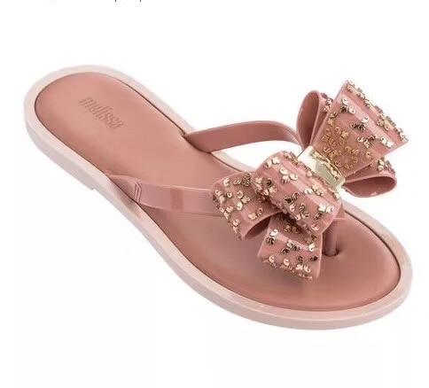 Mini Melissa chaussures d'origine brésilienne noeud papillon 2019 nouvelles femmes pantoufles marque gelée chaussures Melissa femme gelée chaussures