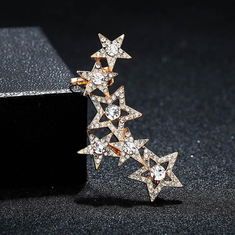 ZLDYOU Punk Girl Jewelry Ear CuffFull Rhinestone Hollow Out Crystal Star Earcuff Women Gifts Party Gift Clip Earrings