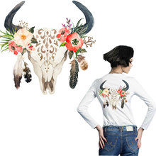 large patch flower cow ox iron sticker patches for clothing heat transfer T-shirt jeans diy accessory surper washable