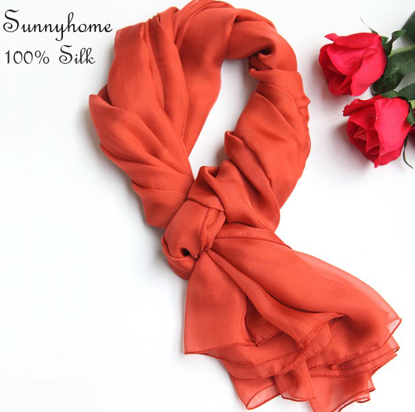 Women Luxury Brand Scarf Wrap Red Solid Colored Scarves 100% Real Silk Soft Summer Beach Soft Breathable Pashminas