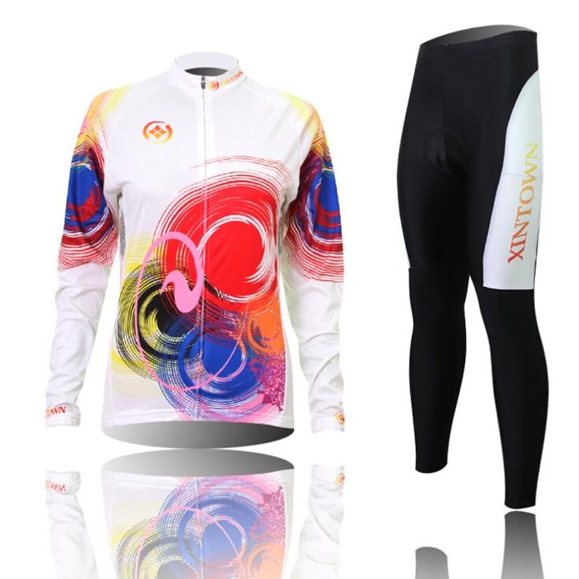 Hot XINTOWN Women Bike Long jersey Pants Shade Pro Team Cycling clothing Riding Top MTB Wear Long Sleeve Shirts