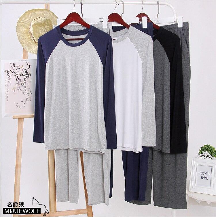 Male Sleepwear Autumn Winter Male Modal O-neck Lounge Set Thin At Home Plus Size Raglan Sleeve Long Sleeve Long Pants Pajama Set