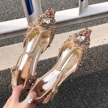 Luxury Flat Shoes Crystal Decor T-bar Rhinestone Woman Shoes Diamond pearl embellished Shiny Footwear