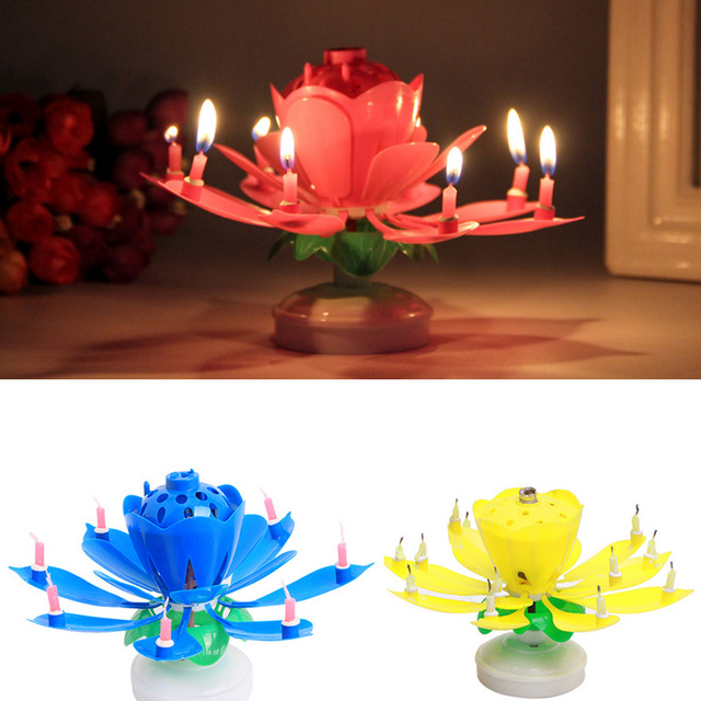 New Arrival Flower Art Musical Candle Lotus Happy Birthday Party Rotating Lights 8 14 Candles Lamp Decorations BS