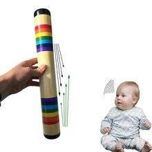 Rainfmaker шейкер твердой древесины цветной песок звук производитель ручной погремушки Музыкальный Раннее образование инструмент популярный для детей