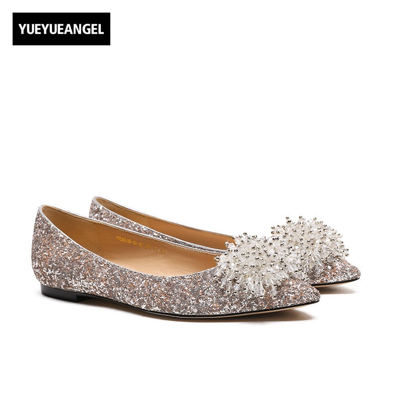 Elegant Women Sequined Floral Beading Dress Shoes Pointed Toe Slip On Wedding Party Leather Flats Footwear Crystal OL Loafers