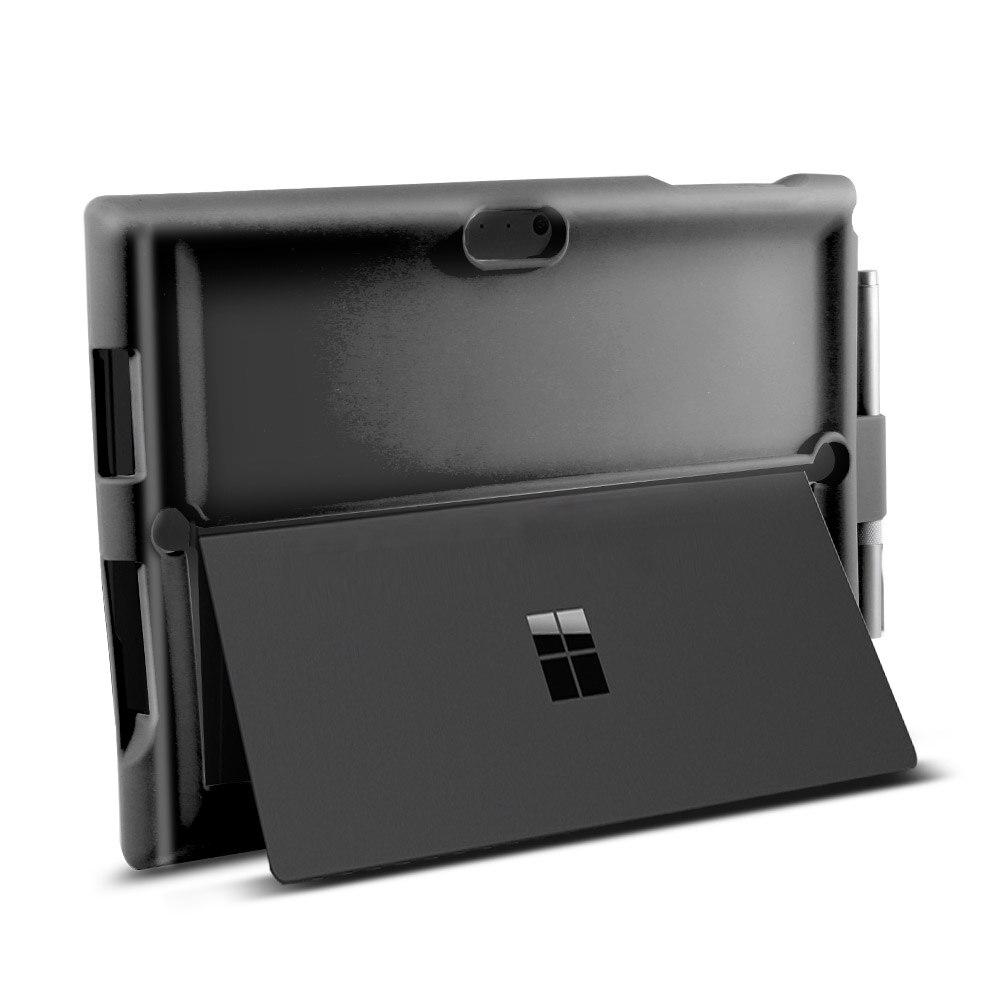 Microsoft Surface Pro 3 4 5 6 étui tablette Silicone coque plate Anti-chute anti-dérapant antichoc manchon + stylo rainure Flip Stand couverture