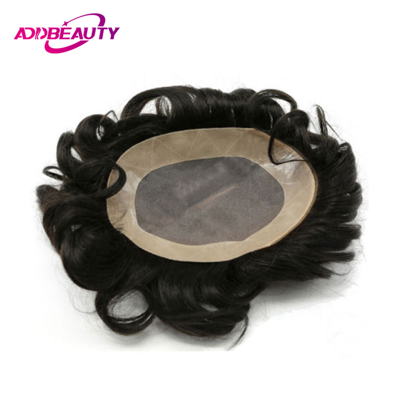 AddBeauty Hair Replacement Systems Mono Lace NPU Indian Remy Hair Toupee Mens Hair Piece Wig