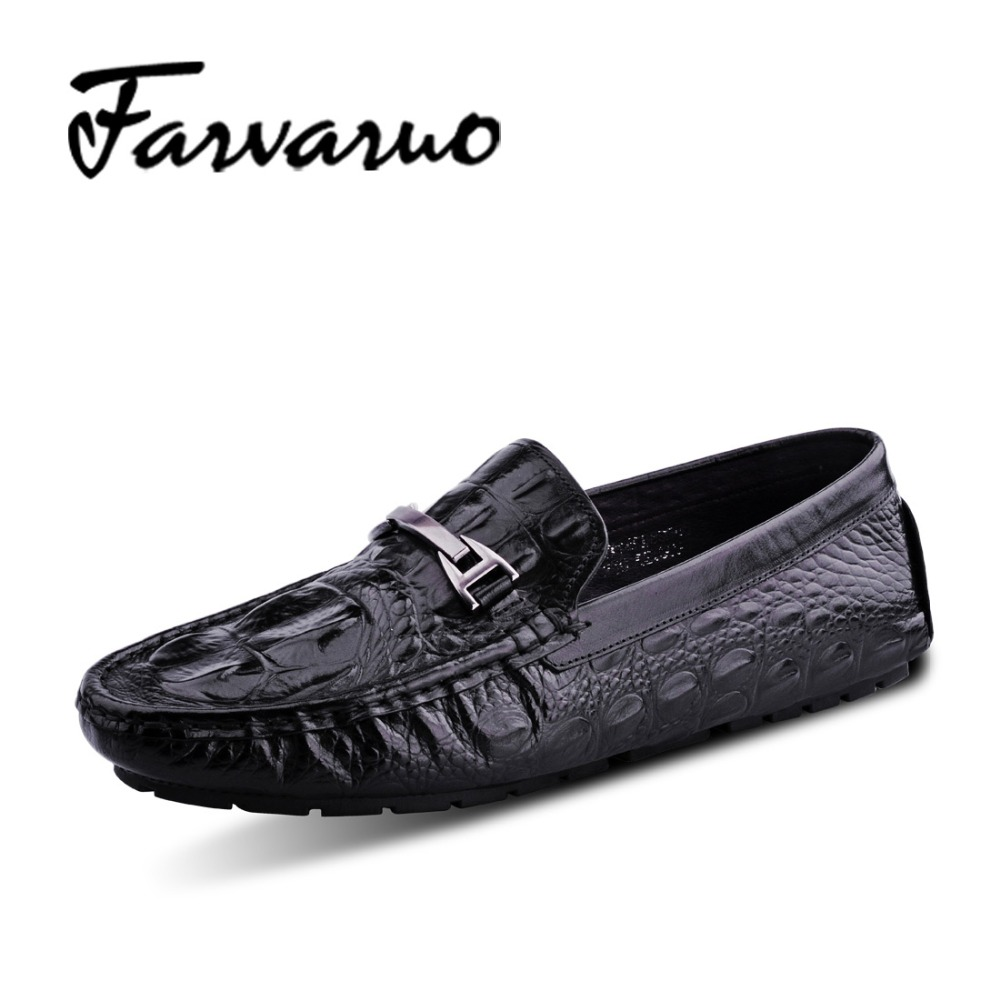 Farvarwo High Quality Genuine Leather Dress Shoes for Men Flats Wedding Italy Embossed Crocodile Shoes Red Casual Slip On Loafer farvarwo genuine leather alligator crocodile shoes luxury men brand new fashion driving shoes men s casual flats slip on loafers