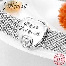 d350ab5f87b4 Auténtica Plata de Ley 925 mejor amigo corazón CZ cuentas clip Fit Original  reflexión encanto pulsera