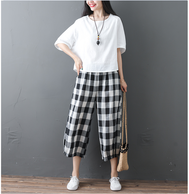 2019 Cotton Linen Two Piece Sets Women Plus Size Half Sleeve Tops And Wide Leg Cropped Pants Casual Vintage Women's Sets Suits 62