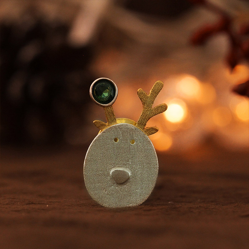 Lotus Fun Real 925 Sterling Silver Creative Handmade Fine Jewelry Christmas Joys Cute Reindeer Jewelry Set