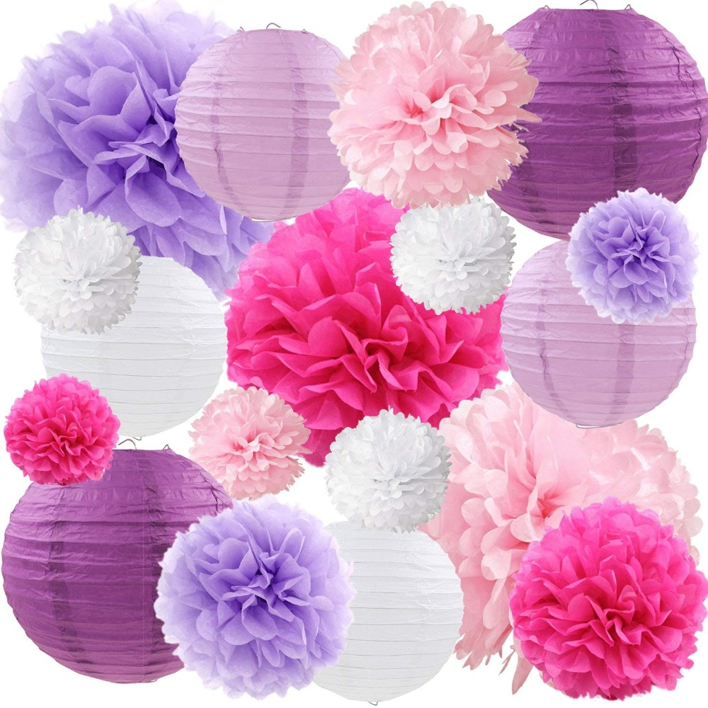 Purple Hanging DIY Tissue Paper Flowers Pom Poms and Paper Lanterns Set of 18 pcs for Baby Shower Wedding Party Event Deco image