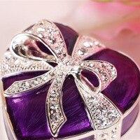 European Butterfly heart shape metal jewelry storage box desktop organizer Wedding Ring storage box for home decoration