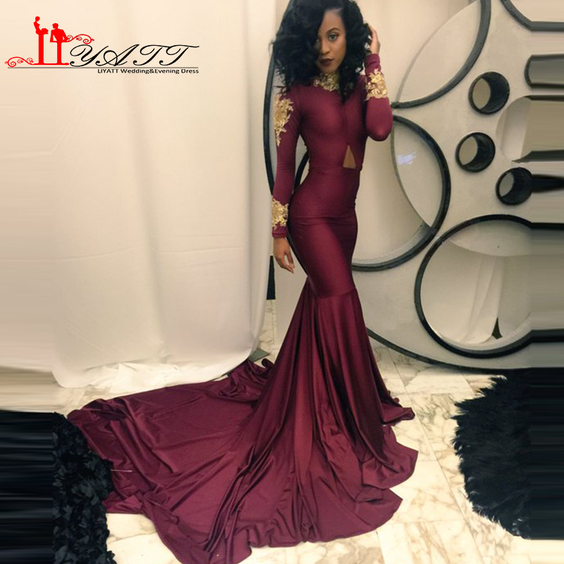 Burgundy and Gold Long Sleeved Prom Dress Promotion-Shop for ...