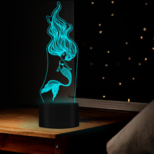 3D night light lovely mermaid shape 7 color table lamp USB LED lamp as a gift or decoration