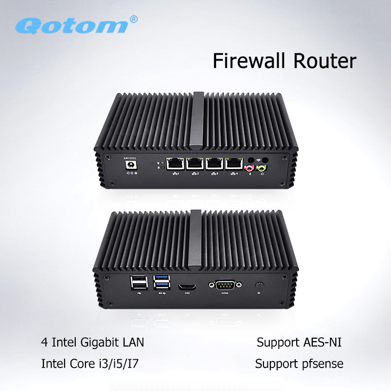 Qotom Mini PC Barebone 4 Lan Micro PC AES-NI Dual Core i5 i3 PFsense Firewall Mini Computer Linux Ubuntu Fanless Mini PC Server qotom pfsense mini pc i5 i3 micro computer linux ubuntu fanless mini pc server dual core firewall ase ni industrial computer