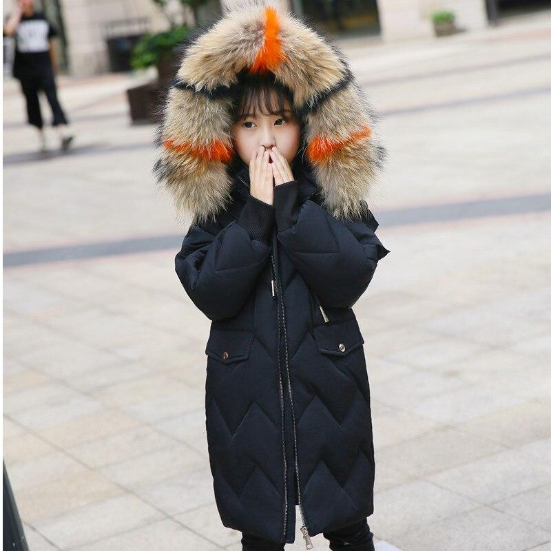 XYF8801 Girl Winter White Duck Down Coat Child Big Fur Collar Keep Warm Thick Hooded kids Jacket Long Outerwear Boys Windbreaker