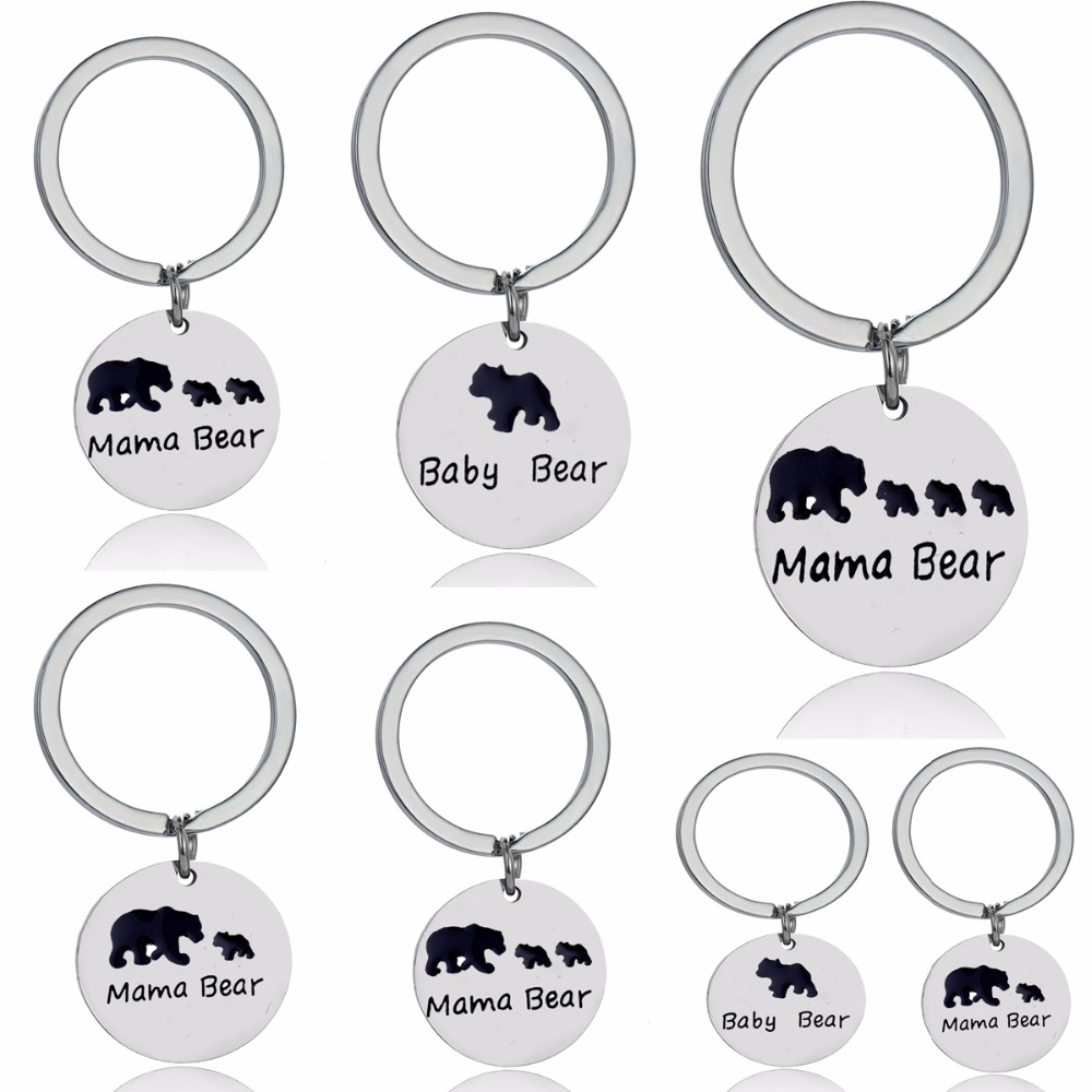 Cute Baby Mama Bear Tag Mother And Children Keychain Birthday Gifts For Mom Keyring Presents Animal
