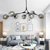 Lustre en métal moderne, Lustre d'éclairage de salon, décoration intérieure, lampe à suspension, boule de verre, accessoires de cuisine